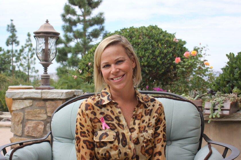 Dana Dinerman, founder of Hulabelle swimwear, in her Poway home