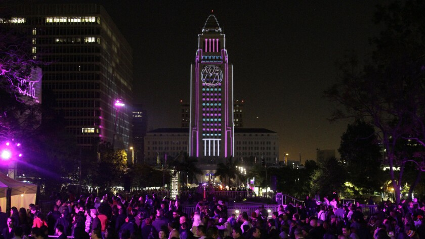 Los Angeles City Hall will once again be lit up for New Year's Eve at this Sunday's N.Y.E.L.A.