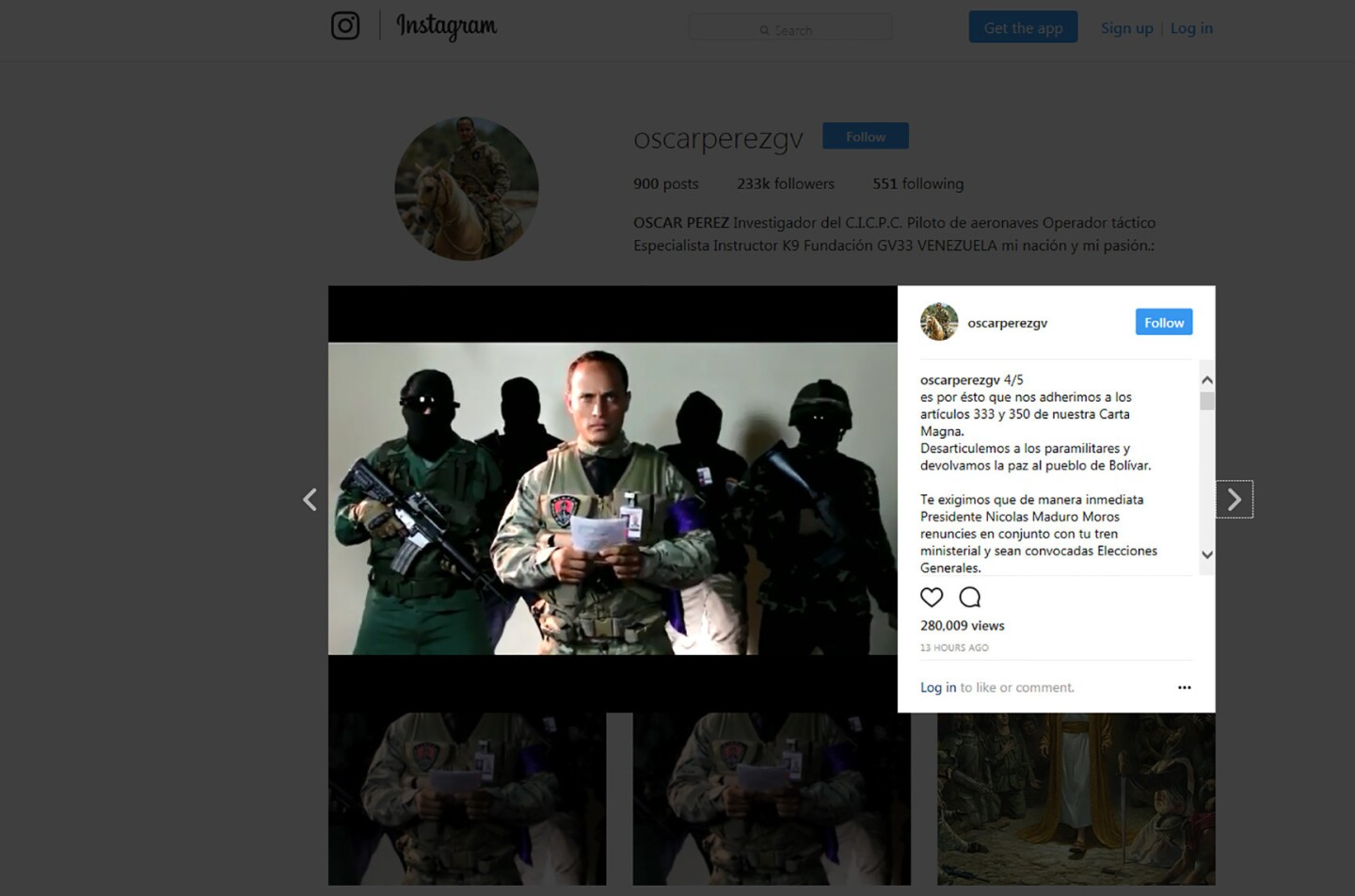 A screen grab taken off Instagram shows alleged Venezuelan ex-forensic officer Oscar Perez, identified by the police as the pilot helicopter who attacked the Supreme Court in Caracas, delivering a speech. Venezuela's army has been put on alert after four grenades were hurled at the Supreme Court from a helicopter.