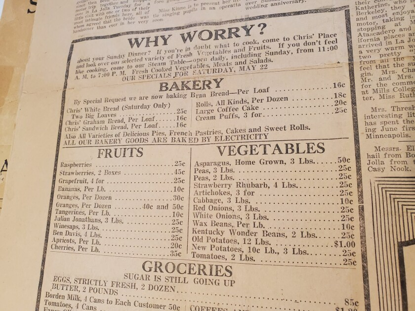 An ad in the May 12, 1920, La Jolla Journal lists grocery items for sale that could be delivered to the home for cooking.