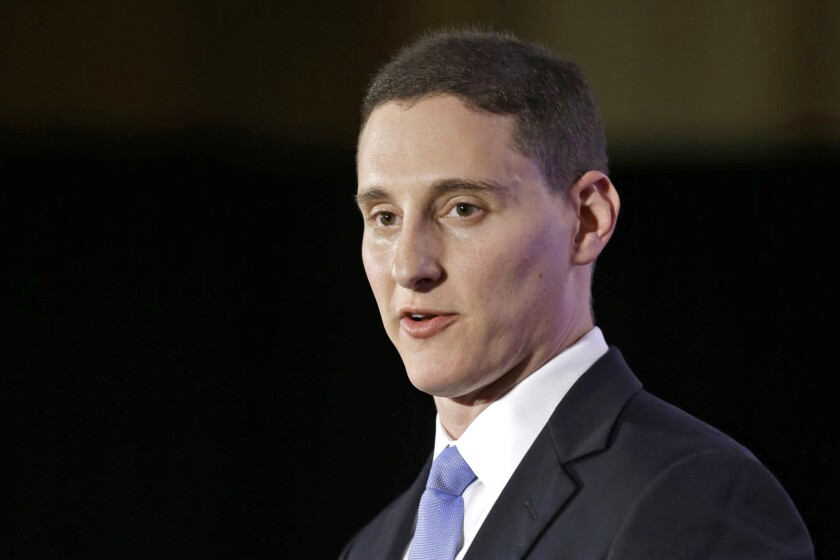 FILE – In this Nov. 4, 2014, file photo, Ohio State Treasurer Josh Mandel speaks at the Ohio Republican Party election night celebration in Columbus, Ohio. Mandel, a Marine veteran and former state treasurer, says he will make a third run for the U.S. Senate in Ohio, taking a pro-Trump message in a bid for the seat being vacated by the GOP's Rob Portman. Mandel planned to launch his campaign Wednesday, Feb. 10, 2021, against the backdrop of a second round of impeachment proceedings against the former Republican president. (AP Photo/Tony Dejak, File)