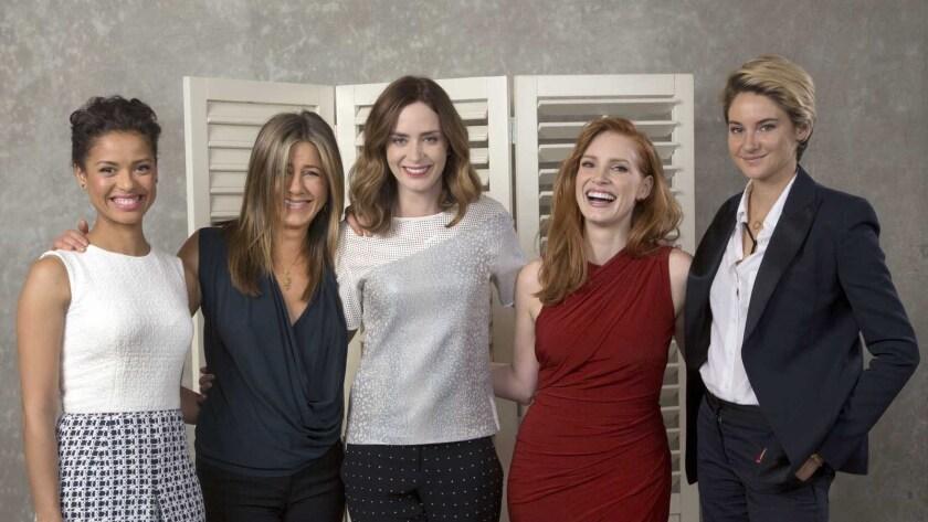 "Gugu Mbatha-Raw, left, Jennifer Aniston, Emily Blunt, Jessica Chastain and Shailene Woodley in ""Hollywood Sessions""    on EPIX"