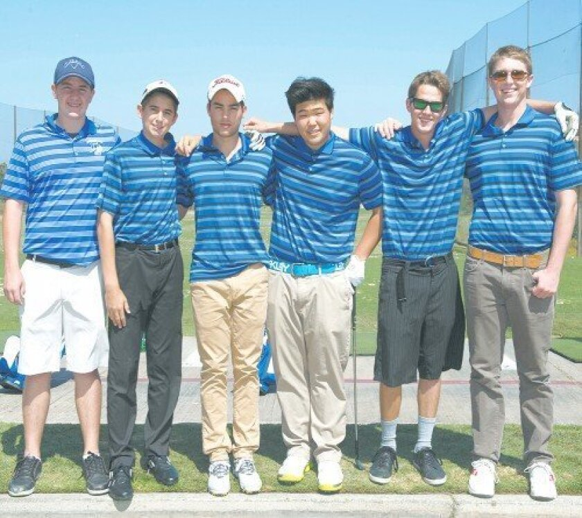 The 2014 La Jolla Country Day School boys golf team includes Landon Nutt, Julian Davis, J.P. Bustamante, Harry Kang, Craig Clark and Adair Warren Ed Piper