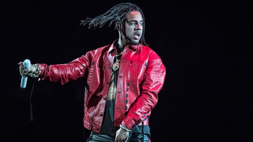 INGLEWOOD, CALIF. -- THURSDAY, DECEMBER 21, 2017: Rapper Vic Mensa on stage at The Forum in Inglewoo