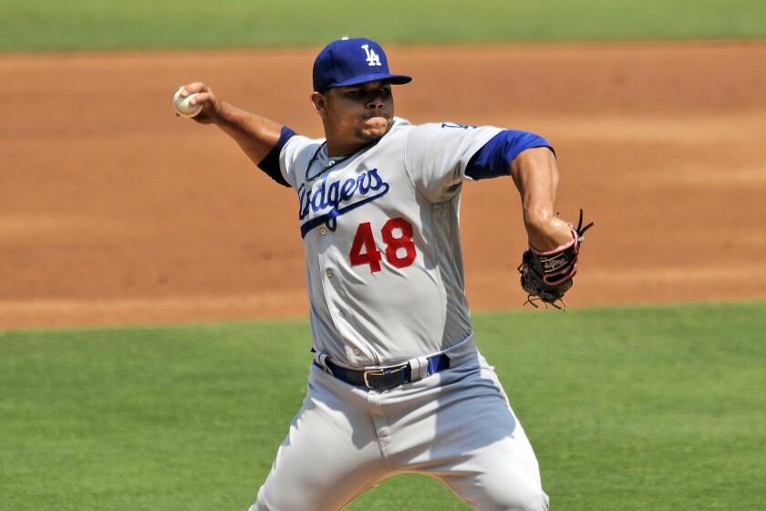 Dodgers pitcher Brusdar Graterol delivers a pitch.