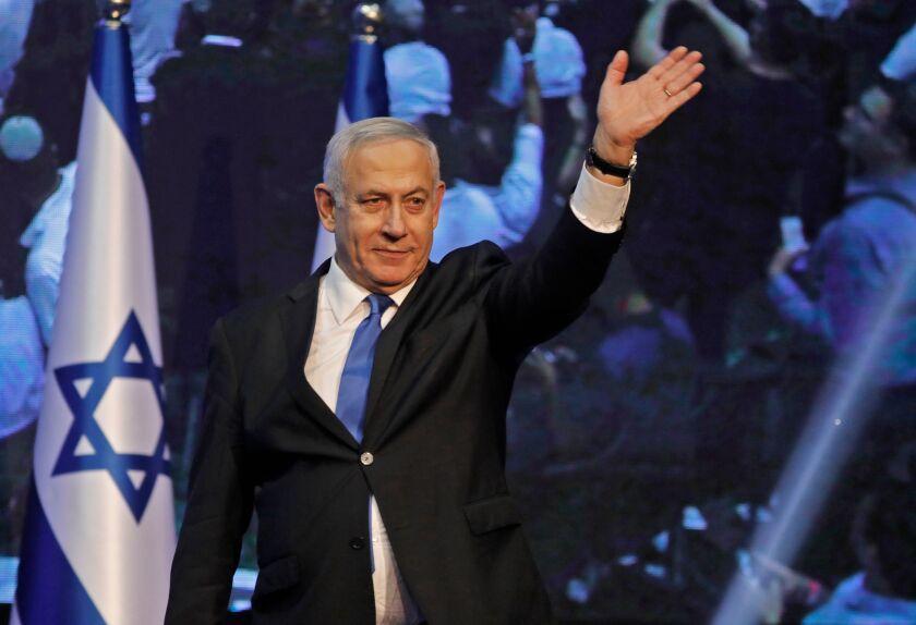 Israeli Prime Minister Benjamin Netanyahu arriving at Likud party headquarters early on Sept. 18, 2019.