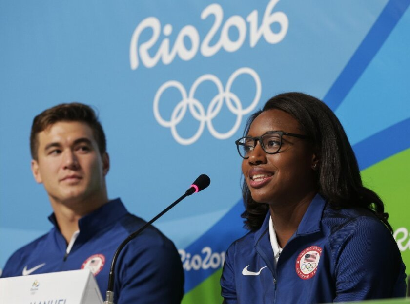 Olympic swimmers Simone Manuel and Nathan Adrian