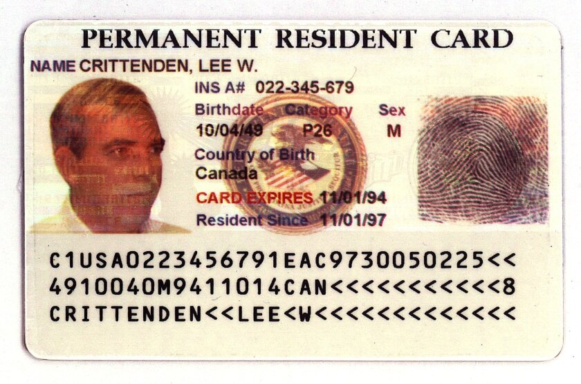 """An example of the """"green card"""" granting permanent residency in the U.S."""