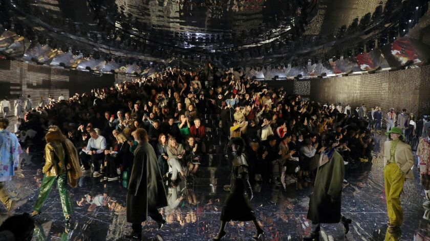 The finale of the fall and winter 2019 Gucci men's and women's runway show, presented Feb. 20, 2019, during Milan Fashion Week.
