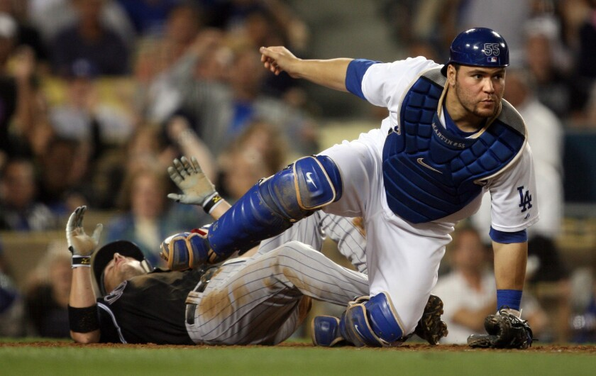Russell Martin with the Dodgers in 2009.