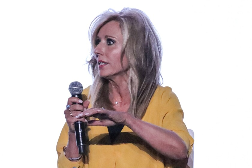 Author and speaker Beth Moore speaks during a panel on sexual abuse during the Southern Baptist Convention annual meeting at the Birmingham-Jefferson Convention Complex in Birmingham, Ala. on June 10, 2019. (Adelle M. Banks/Religion News Service via AP)
