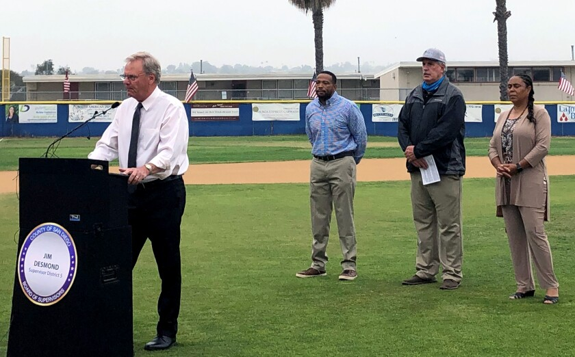San Diego County Supervisor Jim Desmond proposed spending $10 million in federal COVID-19 aid to cover youth sports fees