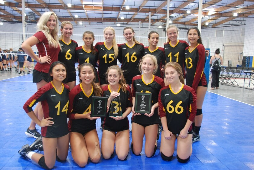 Torrey Pines High School Novice Girls Volleyball team.