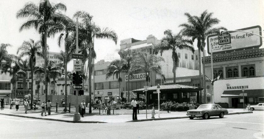 Horton Plaza in 1978. The San Diego City Council created the city redevelopment agency in 1958 with the primary goal of revitalizing the downtown area.
