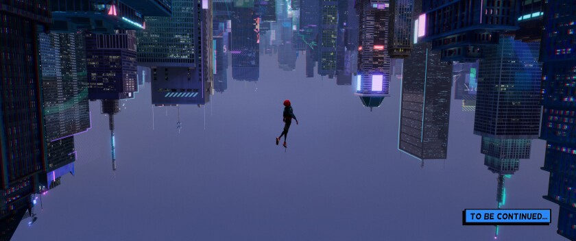 Miles Morales (Shameik Moore) falls through an alternate-universe New York City in Sony Pictures Ani