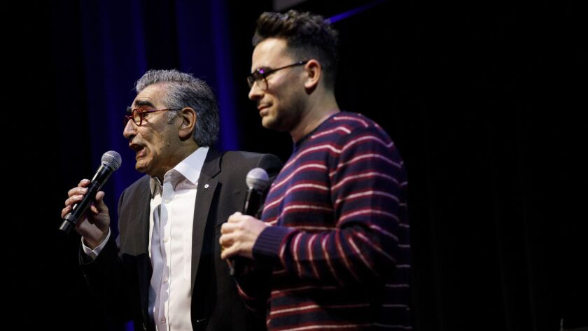 Eugene Levy and Dan Levy at Schitt's Creek Live at the Theater at the Ace Hotel.