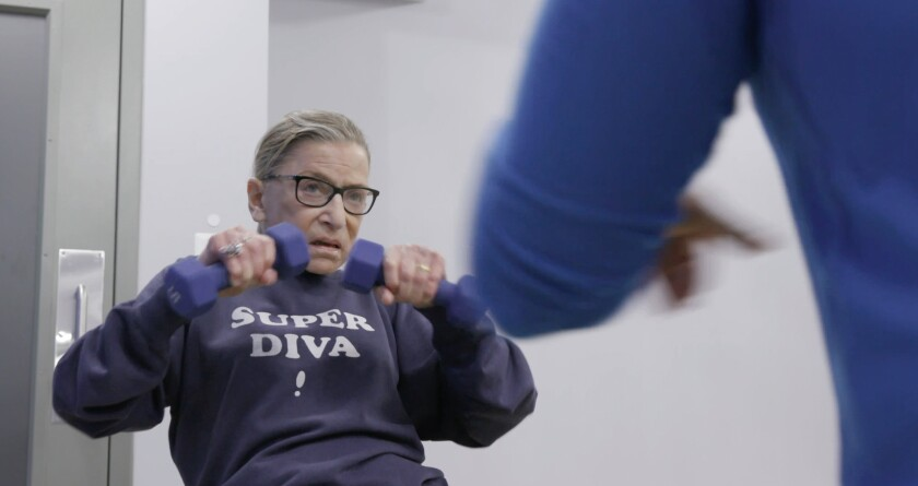 """Justice Ruth Bader Ginsburg is shown mid-workout in """"RBG,""""  a Magnolia Pictures movie."""