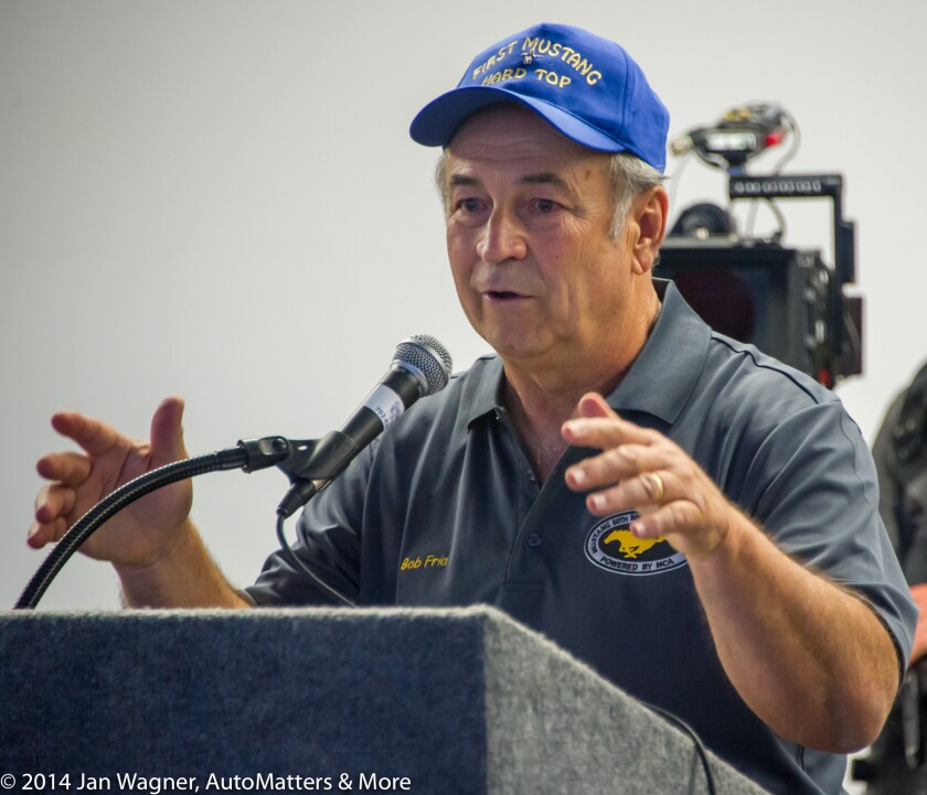 Bob speaking at the 50th birthday celebration of the Mustang in 2014.