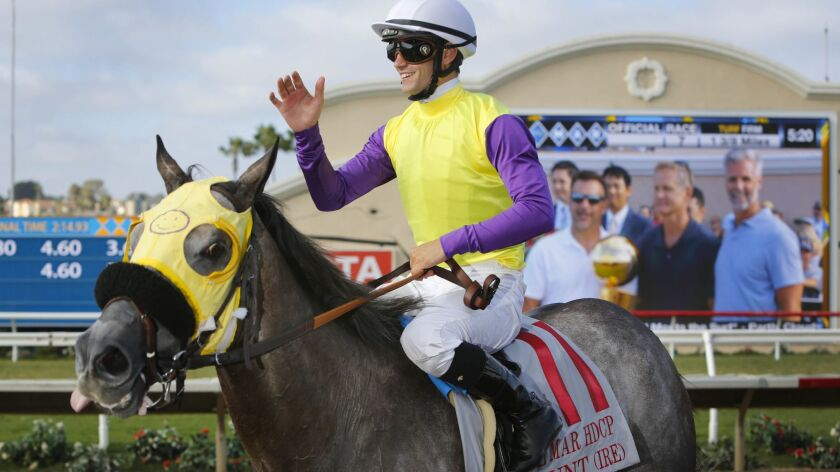 Flavien Prat, shown aboard Hunt after winning the Del Mar Handicap last year, led all jockeys in victories at the track last year.
