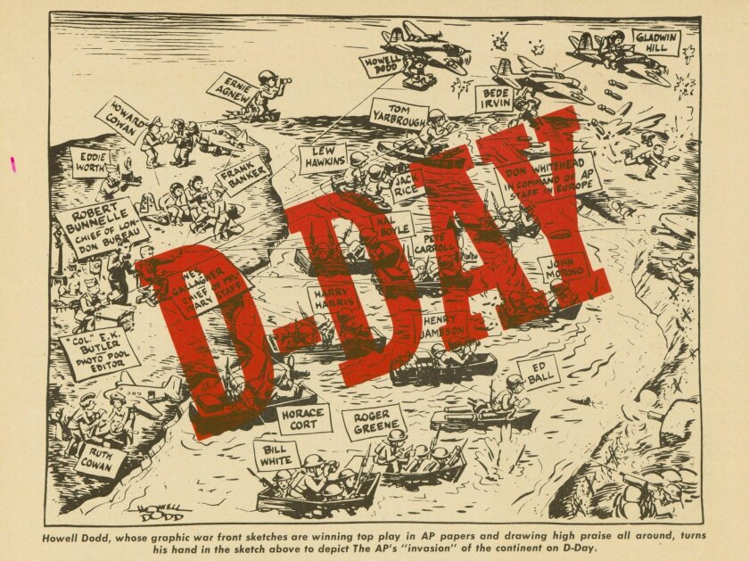 This undated image shows the Howell Dodd graphic that appeared in the June-July 1944 issue of The AP Inter-Office, a printed and illustrated magazine that was offered to AP staff and member newspapers. The graphic shows depictions of the AP correspondents on D-Day. In 1945 the magazine changed its name to AP World. (AP Photo/AP Corporate Archives, Howell Dodd)