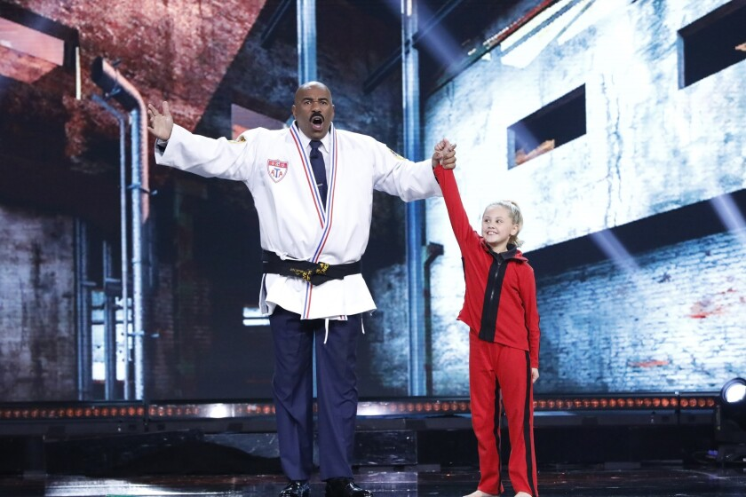 "Host Steve Harvey with Channah Zeitung on Little Big Shots ""Tour De Harvey"" Episode 305 to air Sunday, April 29 at 8 p.m. on NBC."