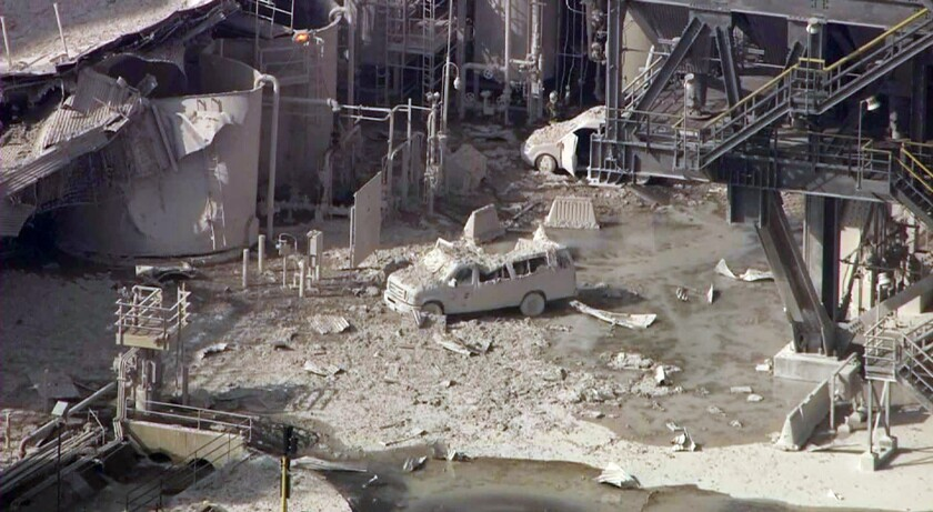 An aerial image taken from a video shot after an explosion occurred Feb. 18 at the Exxon Mobil refinery in Torrance.