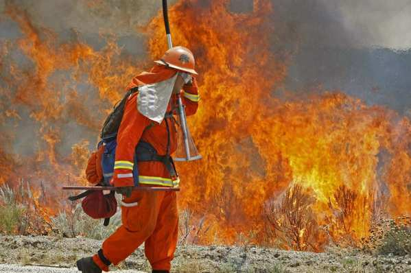 A firefighter from the Norco Conservation Camp shields his face from the heat of a backfire his crew set in Anza-Borrego Desert State Park in San Diego County. Five blazes in the area form the Vallecito Lightning Complex fire.