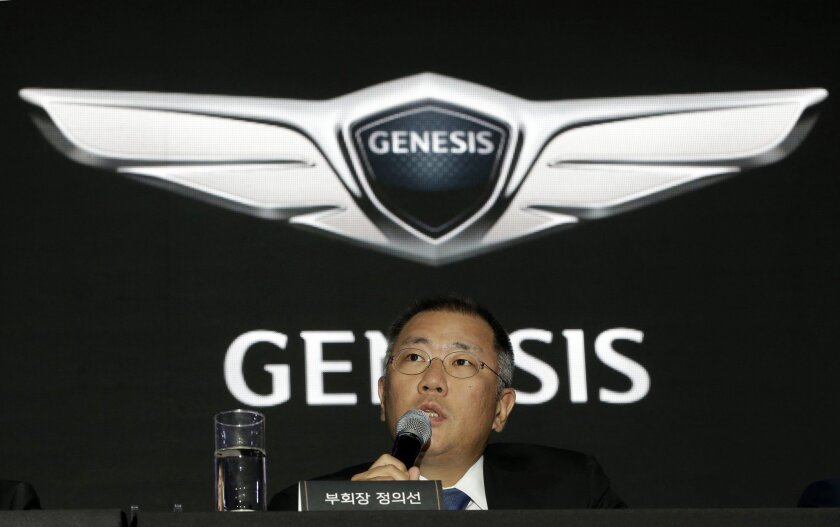 Hyundai Motor Co. Vice Chairman Chung Euisun speaks during a press conference in Seoul, South Korea, Wednesday, Nov. 4, 2015. The company said Wednesday it has launched a premium car brand named after its Genesis sedan to boost earnings and its share of the fast-growing global market for luxury veh