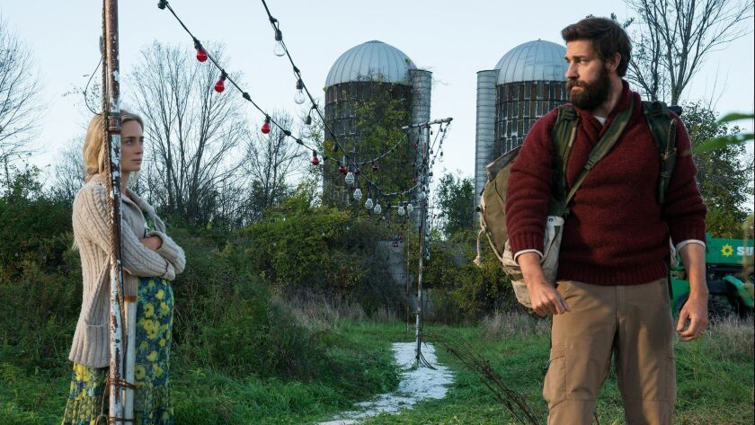 """Emily Blunt and her husband, director John Krasinski, portray a married couple trying to raise a family in terrifying times in the horror-thriller """"A Quiet Place."""""""