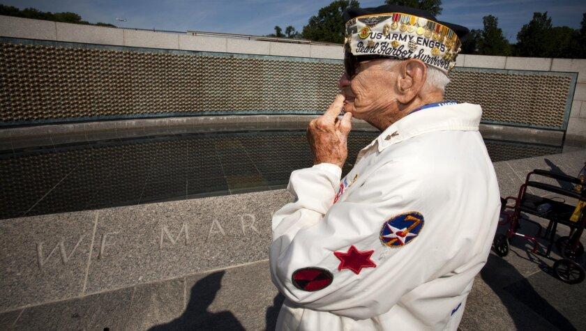 Al Bodenlos in 2012, visiting the World War II Memorial in Washington, D.C.