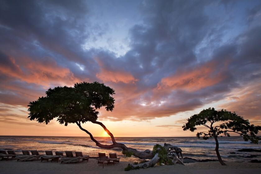 View at sunset off the Hualalai Resort