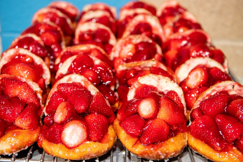 Strawberry donuts from Donut Man