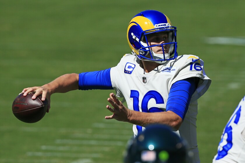 Rams quarterback Jared Goff (16) looks to throw against the Philadelphia Eagles.