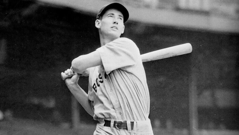 Boston's Ted Williams is pictured taking a swing at Yankee Stadium during the 1941 season.