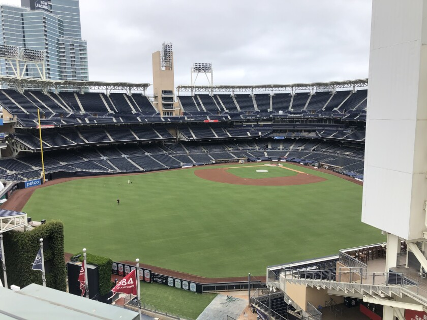 The view from the seventh-floor amenities deck at The Legend, a condominium building inside Petco Park.