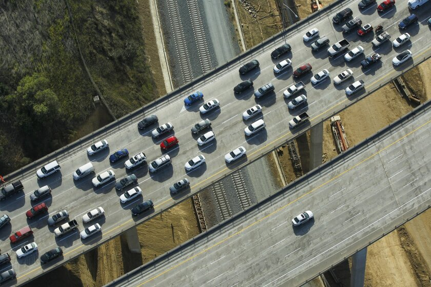 Traffic drives on Interstate 805 in Sorrento Valley.