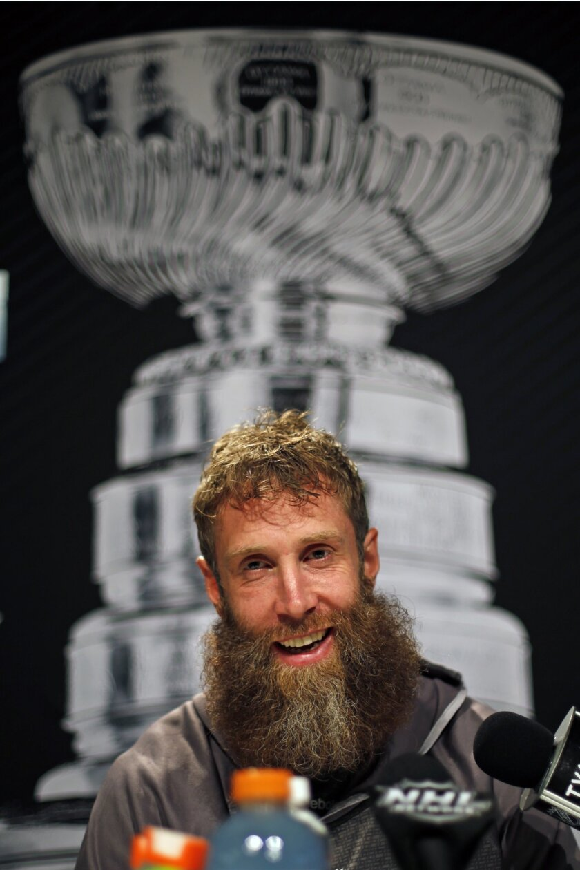 San Jose Sharks' Joe Thornton talks to reporters during Stanley Cup Finals media day in Pittsburgh, Sunday May 29, 2016. The Sharks face off in Game 1 of the Stanley Cup Finals against the Pittsburgh Penguins on Monday, May 30, in Pittsburgh. (AP Photo/Gene J. Puskar)