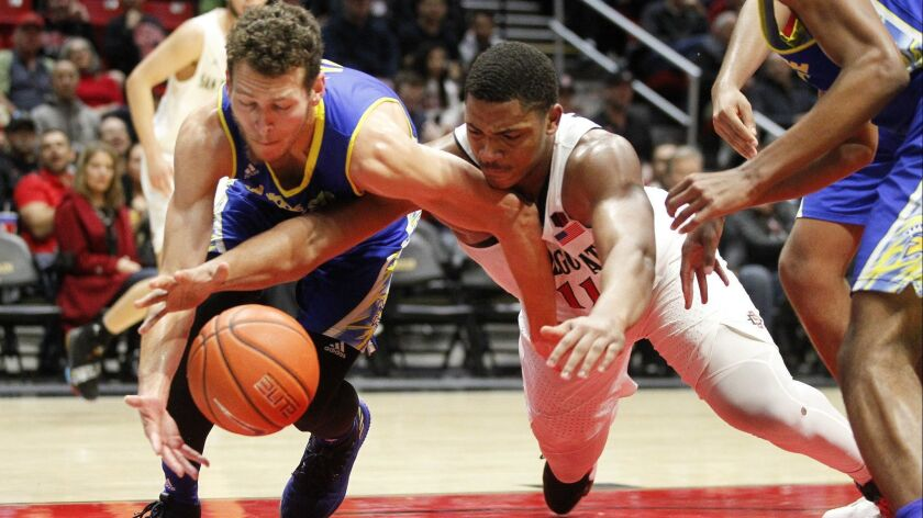 Aztecs' Matt Mitchell (right) and San Jose State's Brae Ivey dive for loose ball under the basket during the first half Saturday at Viejas Arena.