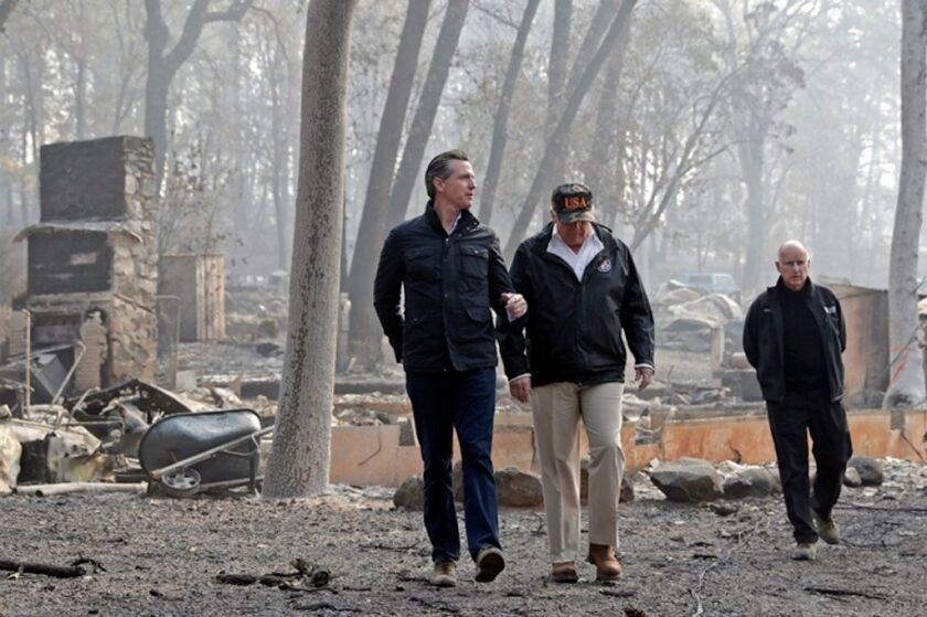 Gavin Newsom, President Trump and Jerry Brown visit Paradise, Calif., after the Camp fire