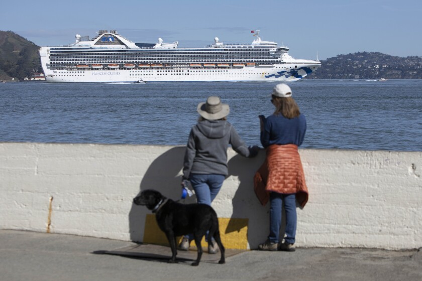 The Grand Princess cruise ship sails into San Francisco Bay to dock at the Port of Oakland. Some of the more than 3,000 people onboard are infected with the new coronavirus.