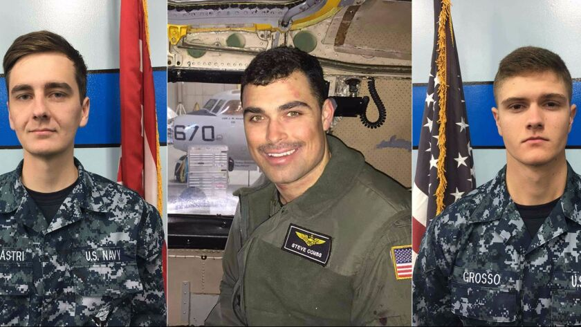 Images released by the Navy show, from left, airman Matthew Chialastri; Lt. Steven Combs and airman apprentice Bryan Grosso. The three died when a transport plane crashed in the Philippine Sea.