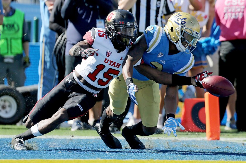Utah cornerback Dominique Hatfield knocks away a pass intended for UCLA wide receiver Jordan Lasley in the second quarter on Oct. 22.