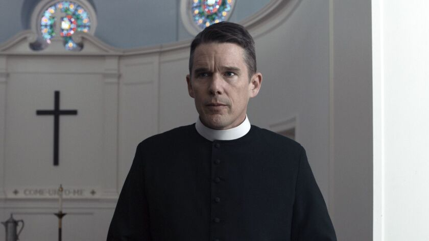 """This image released by A24 shows Ethan Hawke in a scene from """"First Reformed."""" Hawke was not nominat"""