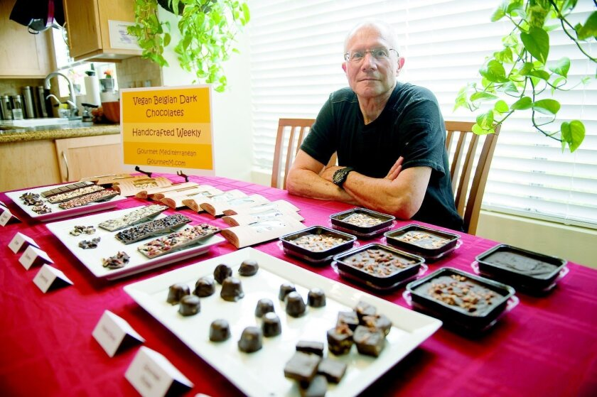 After a long and varied career as an engineer, Michael Ross started making chocolate bars. He now sells them under the brand Gourmet Mediterranean, participating in the Chocolate Festival at the San Diego Botanic Gardens and selling his creations at the Solana Beach Farmers Market every other Sund
