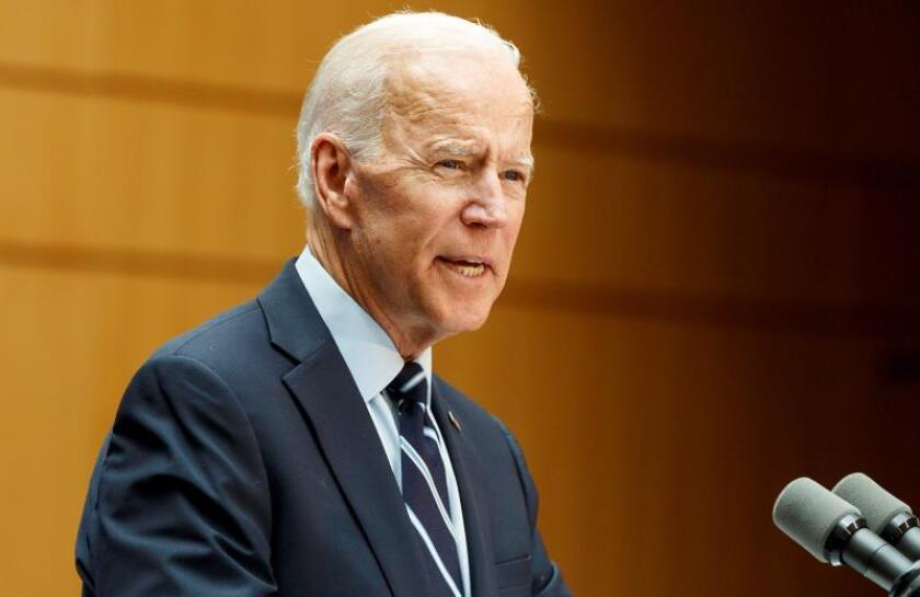 Former US Vice President Joe Biden, one of the Democratic candidates for United States President, makes a speech about his foreign policy plans during an appearance at the Graduate Center of the City University of New York in New York, New York, USA. EFE/EPA/Justin Lane