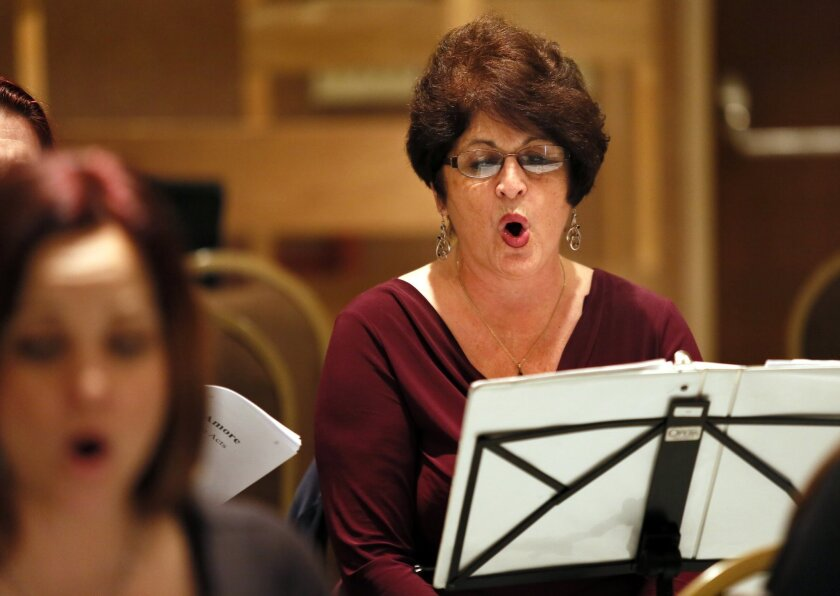 """Rita Cantos Cartwright rehearses with the San Diego Opera Chorus in the Copper Room at San Diego Civic Center for the production of """"Pagliacci."""" Nancee E. Lewis • Nancee Lewis Photography"""