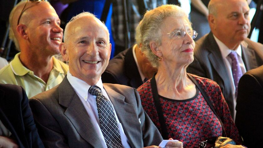 August 4, 2014, SAN DIEGO, CA | Ernest Rady, left, and his wife, Evelyn Rady, right, are all smiles