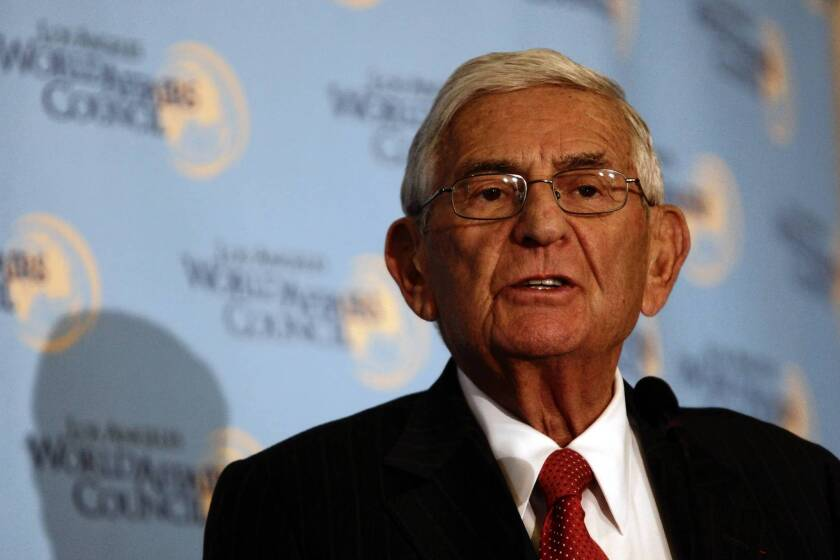 Education and arts philanthropist Eli Broad has made a donation of $250,000 to the Coalition for School Retorm, a group trying to influence the outcome of three races for seats on the Los Angeles Board of Education.
