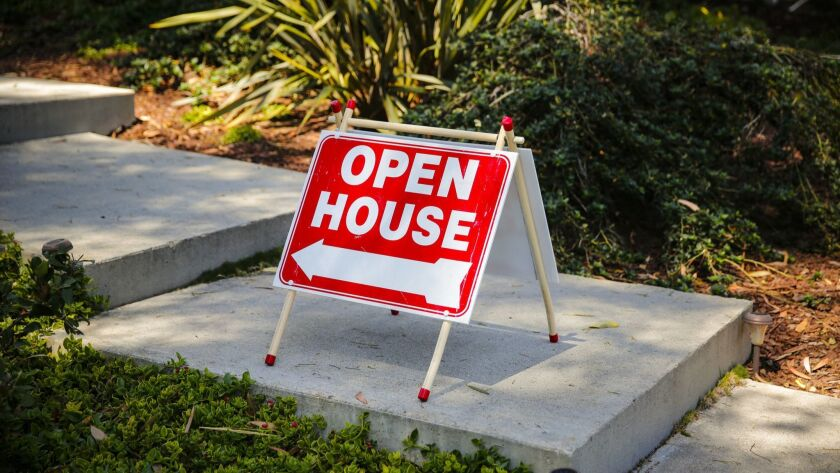PALOS VERDES ESTATES, CA.-- JUNE 7, 2015--An open house sign at 3021 Palos Verdes Dr. N, listed at