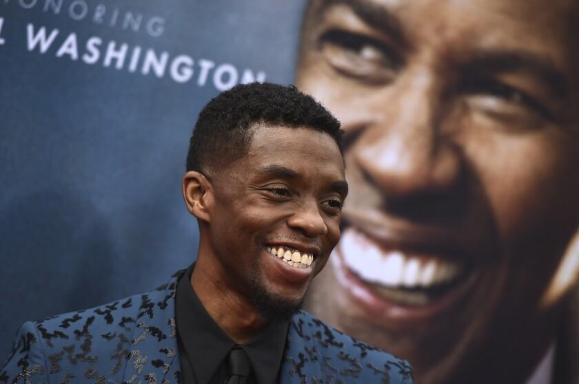 Chadwick Boseman attends the 47th AFI Life Achievement Award ceremony to honor Denzel Washington.
